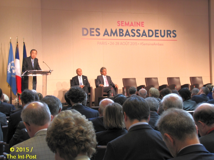 Ban Ki-moon (L), Laurent Fabius (C)