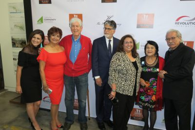 Paul Schrade (3rd from left), Bruce Goldstein (4th), Dolores Huerta, actor Edward James Olmos